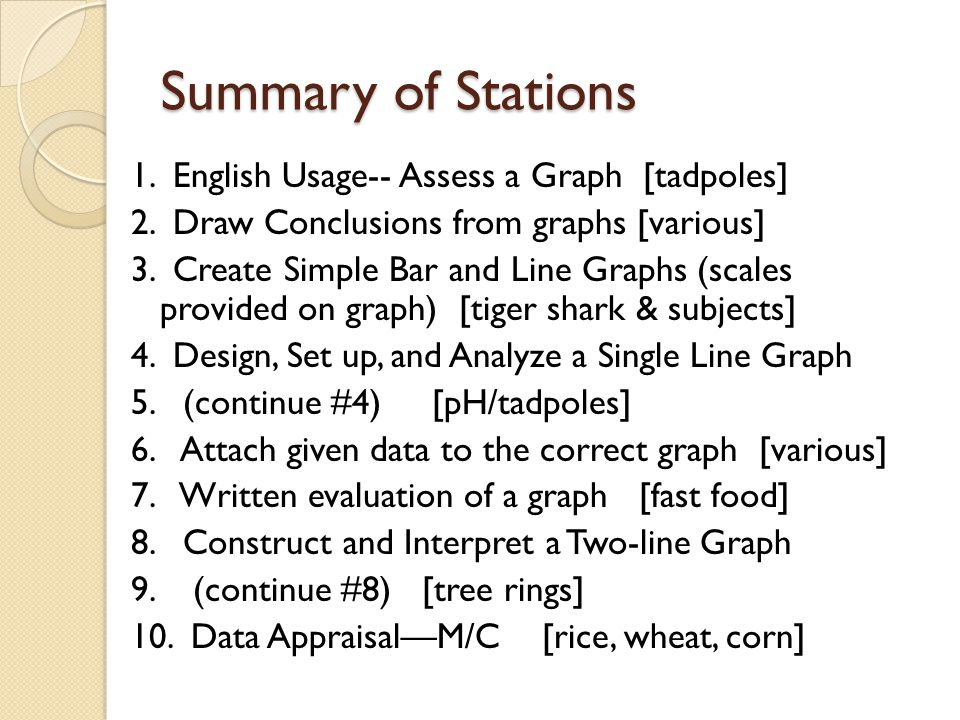 Summary of Stations 1. English Usage-- Assess a Graph [tadpoles]